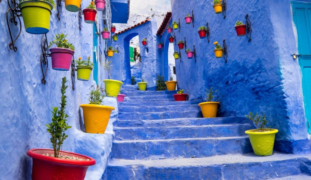Africa,North Africa,Morocco, Chefchaouen or Chaouen  is most  noted for its small narrow streets and neighborhoods painted in  variety of vivid blue colors. Plantings in colorful pots line the narrow corridors.