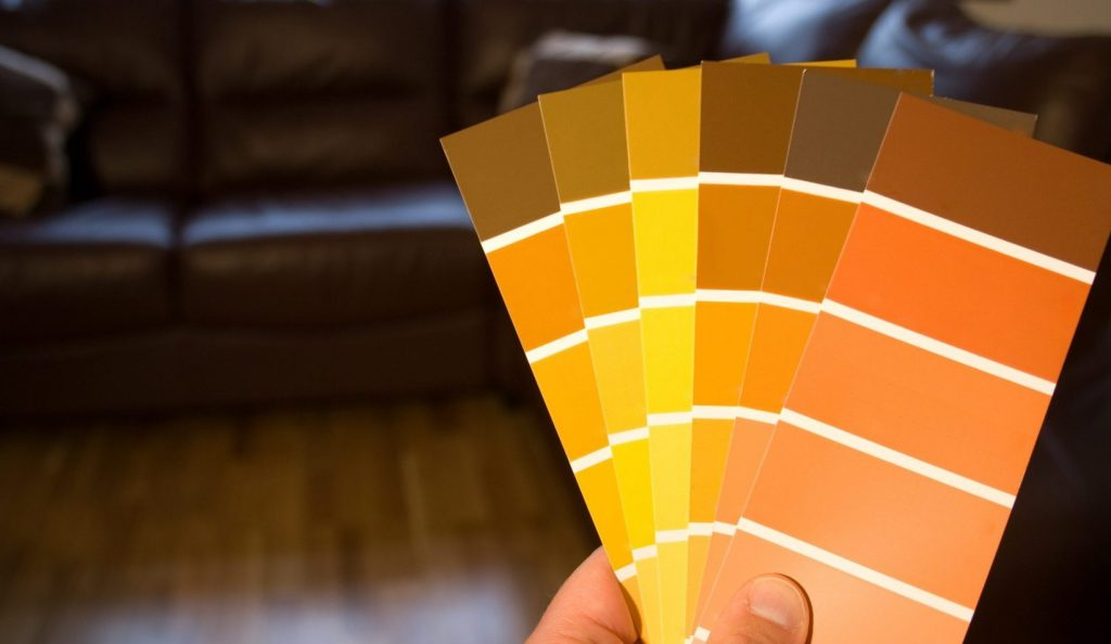 Colour swatches and sofa